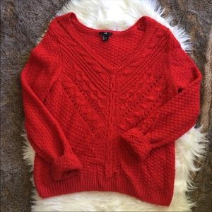 💋H&M // Red Open Weave Sweater